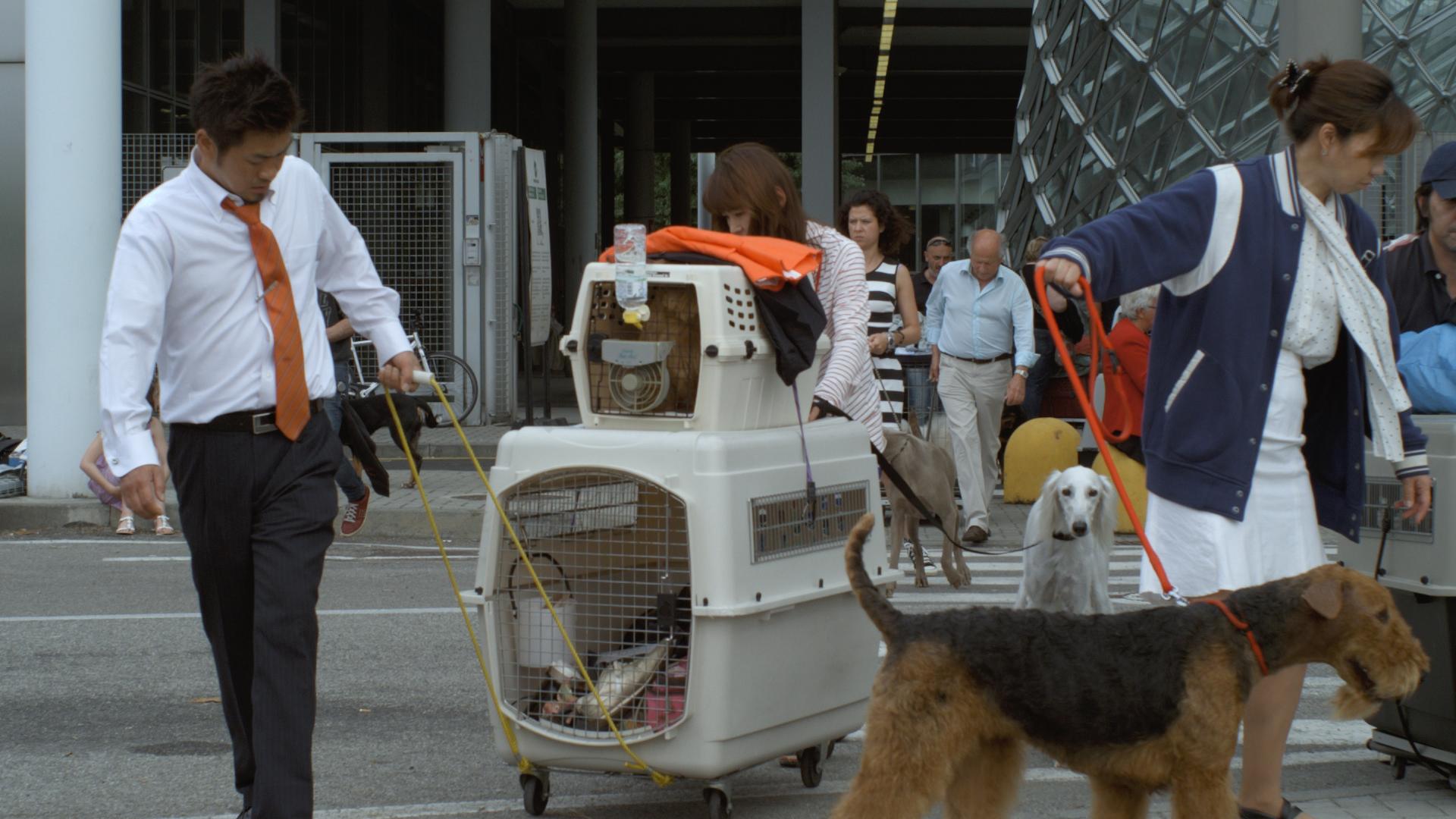 Vor dem Eingang zur World Dog Show in Mailand